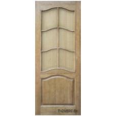 Дверь межкомнатная из массива сосны модель М7 ДО (стекло сельвит бронза) с рамкой