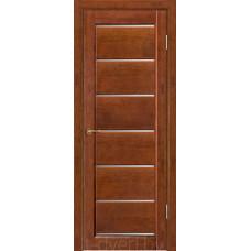 Дверь межкомнатная из массива ольхи Премьер плюс, бренди, частично остекленная
