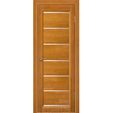 Дверь межкомнатная из массива ольхи Премьер плюс, медовый орех, частично остекленная