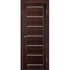 Дверь межкомнатная из массива ольхи Премьер плюс, венге, частично остекленная