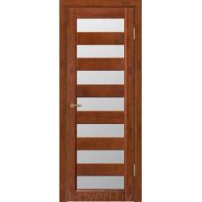 Дверь межкомнатная из массива ольхи Премьер плюс, бренди, остекленная