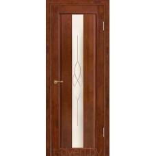 Дверь межкомнатная из массива ольхи Версаль, бренди, остекленная