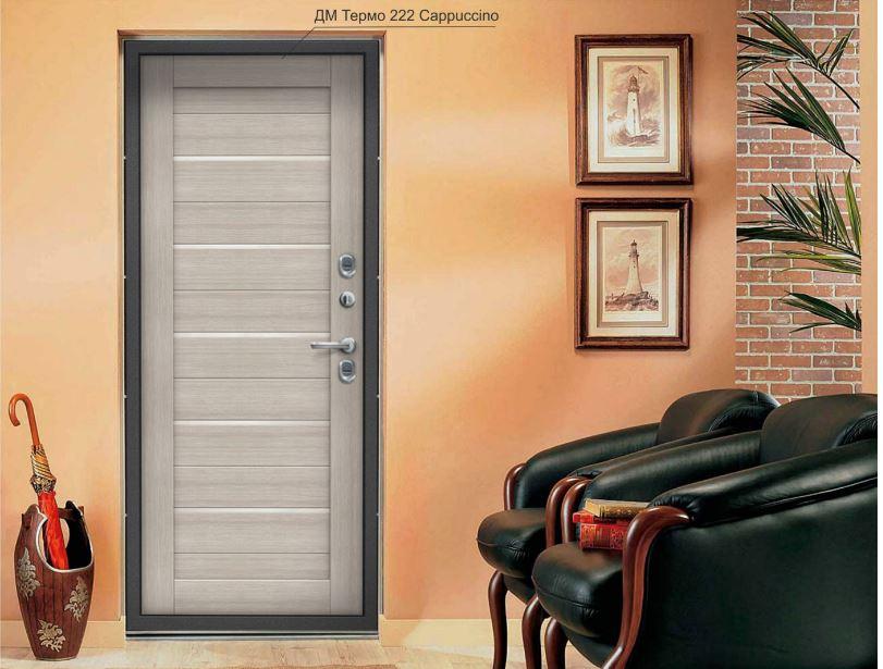 Входная дверь с терморазрывом ЭльПорта серии Термо 222  Cappuccino Veralinga