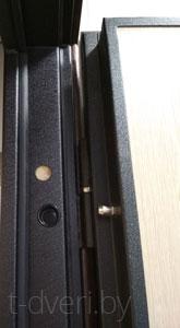 Хорошая металлическая дверь оснащена цельной рамой и широкими наличниками, которые защищают анкера от попытки перепилить их.