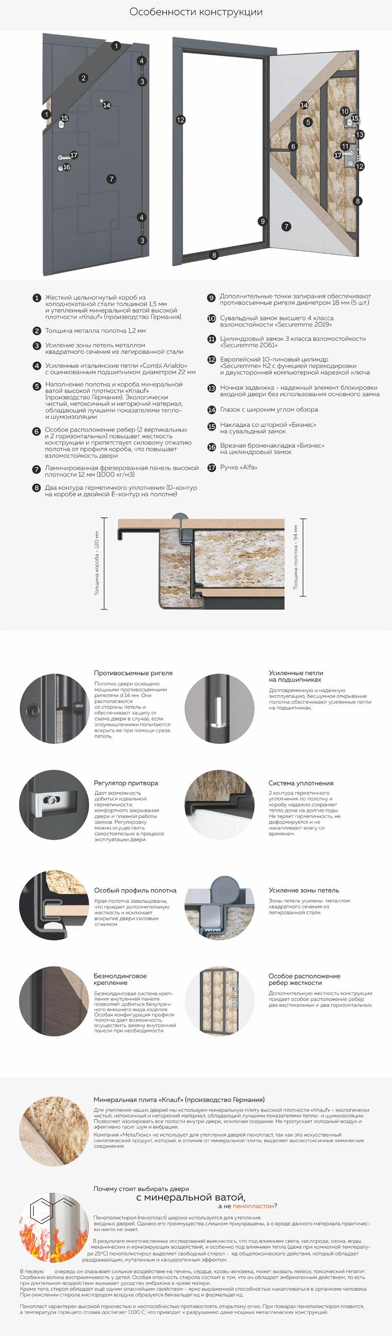 Компания-производитель стальных дверей «МетаЛюкс» является одной из крупнейших в Республике Беларусь. Производственная территория располагается на площади более 8000 квадратных метров и продолжает постоянно расширятся. Большие инвестиции компании в оснащение производства современным высокотехнологичным оборудованием позволяют выпускать продукцию высокого качества, предлагая потребителям ассортимент более 100 наименований входных дверей.  Модельный ряд «МетаЛюкс» представлен пятью коллекциями: Статус, Элит, Триумф, Тренд, Стандарт. Каждая коллекция имеет свои специфические особенности и отличительные черты, такие как надежность, безопасность, назначение и внешний вид.  Двери придутся по вкусу, как и ценителям роскоши, так и людям, которым важно владеть качественным изделием с простым и лаконичным дизайном.  Начальным этапом изготовления двери является получение качественной заготовки. Для этого участок металлообработки оснащен координатно-пробивным прессом с программным управлением, который позволяет получать заготовки из плоского листа любой сложности с идеальной геометрией, 100%- повторяемостью и точностью позиционирования пробивки до 0,01мм. Далее заготовка проходит несколько производственных этапов гибки, профилирования и/или объемной штамповки,  в которых задействовано оборудование от лучших мировых производителей из Италии, Германии, Польши и России.  Для соединения элементы будущих  дверей поступают на сварочный участок, где детали свариваются в полуавтоматическом режиме. На ряду с этим, на производстве используется уникальная установка контактной точечной сварки, которая обеспечивает не только высокую скорость и повышенную жесткость дверных полотен, но и позволяет добиться эффекта «эстетической сварки», таким образом отпадает необходимость «зачистки» сварных швов. Программное управление позволяет подобрать особые режимы сварки для различных по толщине соединяемых деталей.  Процесс окраски осуществляется в автоматическом режиме на новейшей линии нанесения поли